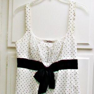 San Souci Empire Sun Dress Dotted Swiss Black Bow
